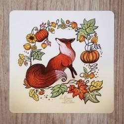 Carte Postale Renard 16x16cms
